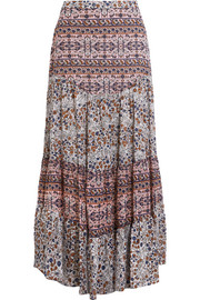 Floral-print cotton-voile maxi skirt