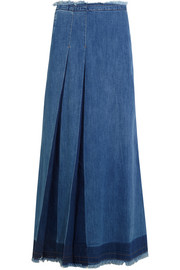 Pleated denim maxi skirt