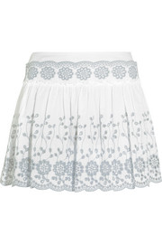 Broderie anglaise cotton mini skirt