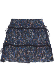 Floral-print plissé cotton and silk-blend georgette mini skirt