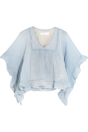 Ruffled striped crinkled cotton-blend top