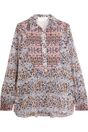 Quilted floral-print cotton blouse