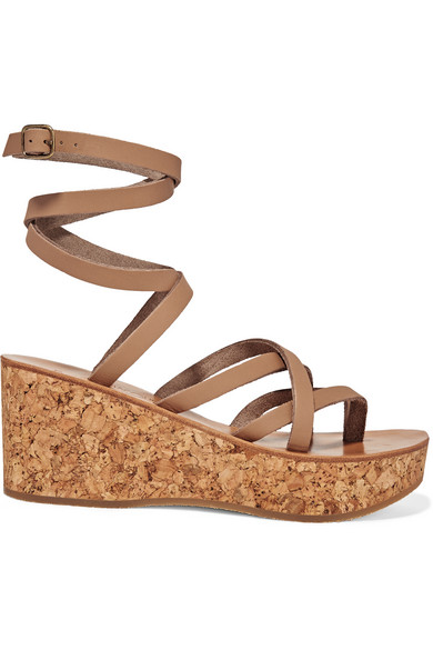 k jacques st tropez female 186518 k jacques st tropez tautavel leather and cork wedge sandals beige