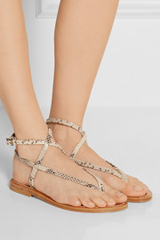 K Jacques St Tropez Delta snake-effect leather sandals