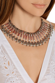 Silver-plated, rhodonite and mother-of-pearl necklace