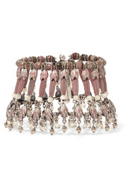 Silver-plated, rhodonite and mother-of-pearl bracelet