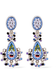 Silver-plated enamel earrings