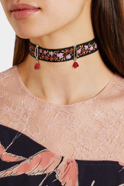 Etro Printed grosgrain and enamel choker