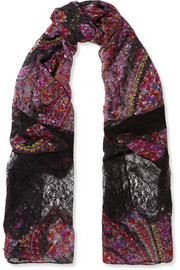 Etro Lace-paneled printed fil coupé silk-blend scarf