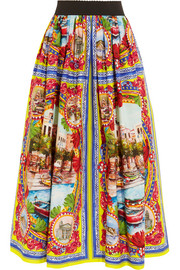 Printed cotton-poplin maxi skirt