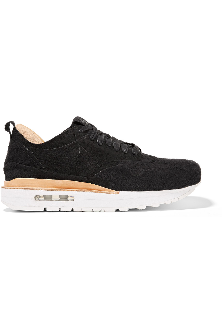 Nike Nikelab Air Max 1 Royal Faux Suede and Leather Sneakers, Black, Women's, Size: 8