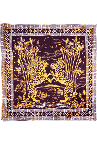 Valentino - Printed Silk-twill Scarf - Burgundy