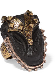 Valentino Burnished gold-plated ebony ring