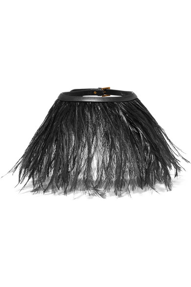 Valentino - Feather And Leather Choker - Black