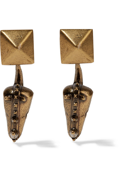 Valentino - Hammered Gold-plated Earrings