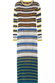 Missoni Metallic-striped crochet-knit maxi dress