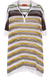 Missoni Oversized metallic-striped crochet-knit top
