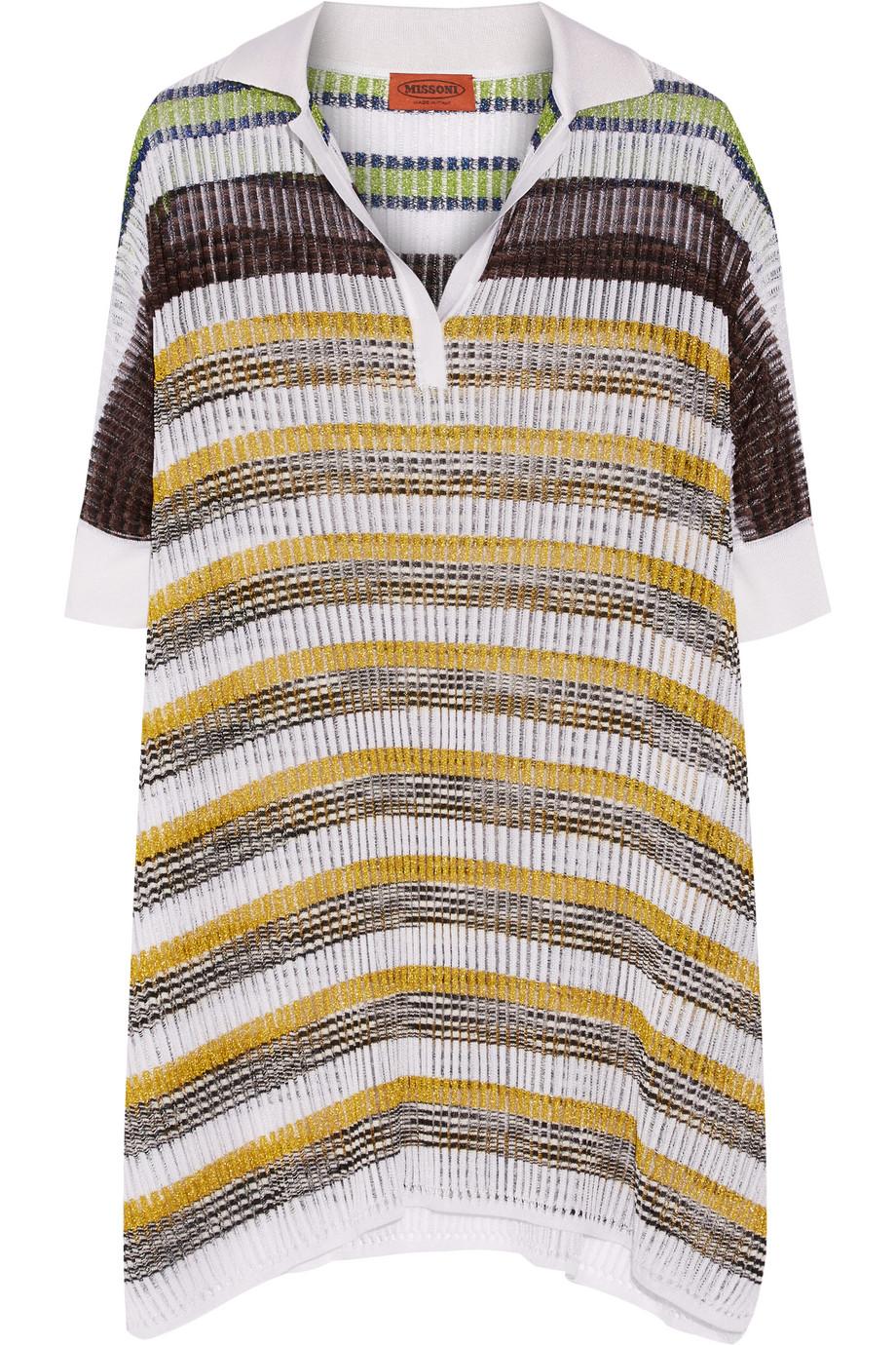 Missoni Oversized Metallic-Striped Crochet-Knit Top, White/Saffron, Women's