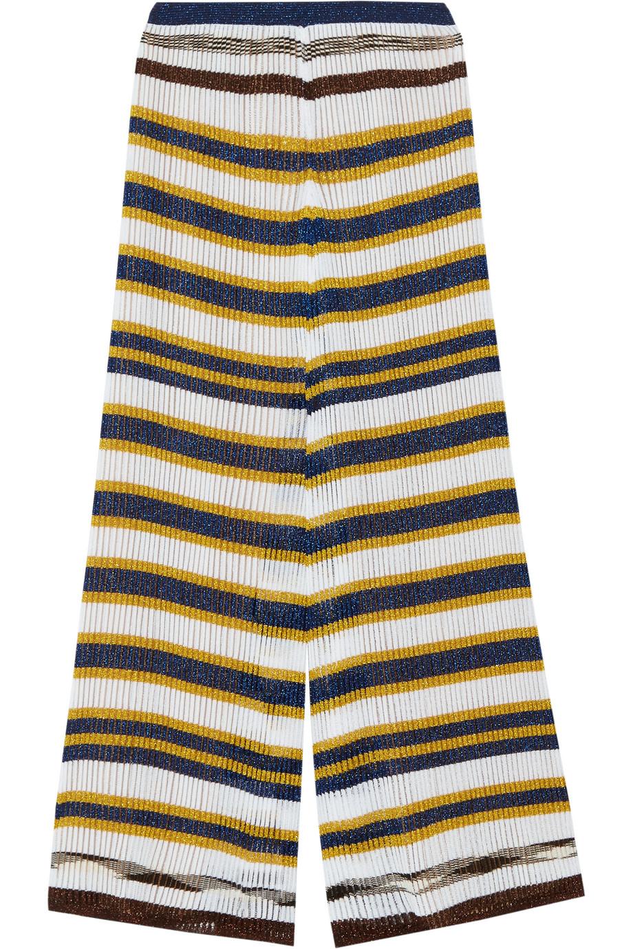 Missoni Striped Crochet-Knit Wide-Leg Pants, Off-White/Yellow, Women's, Size: 44