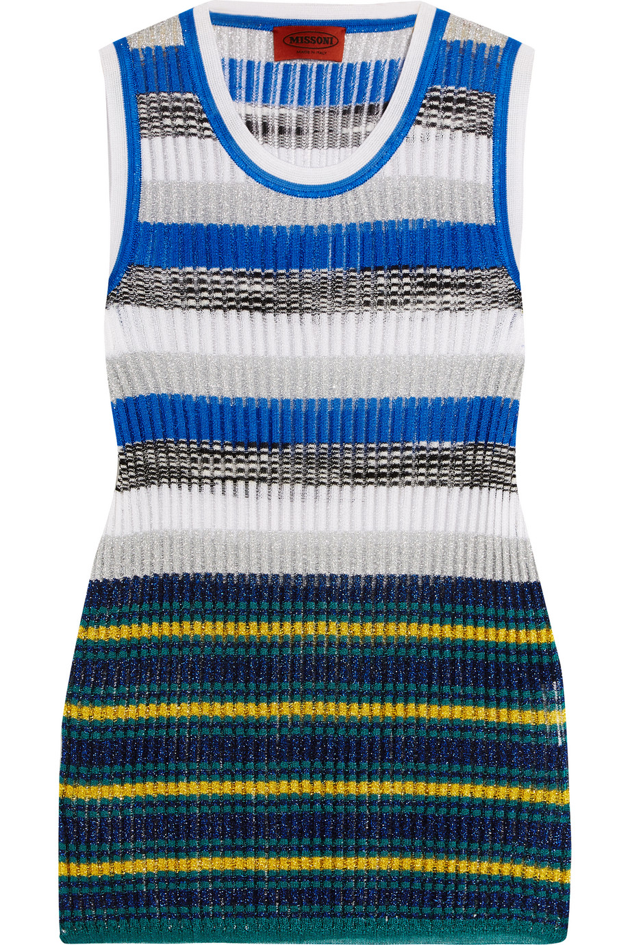 Missoni Metallic Striped Crochet-Knit Tank, Blue, Women's, Size: 46