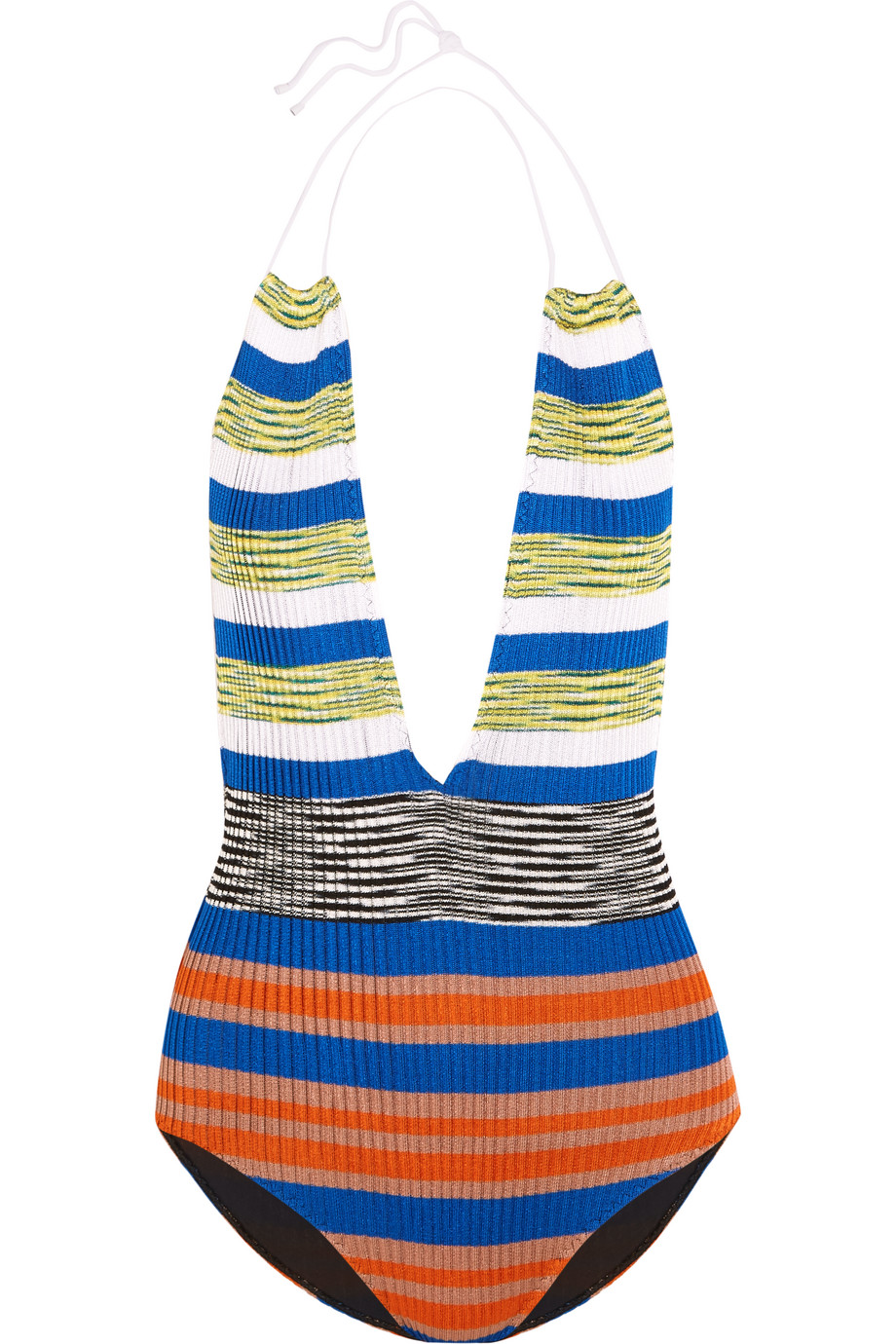 Missoni Mare Cutout Striped Crochet-Knit Halterneck Swimsuit, Blue/Orange, Women's, Size: 44