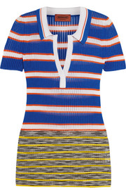 Missoni Striped crochet-knit polo shirt