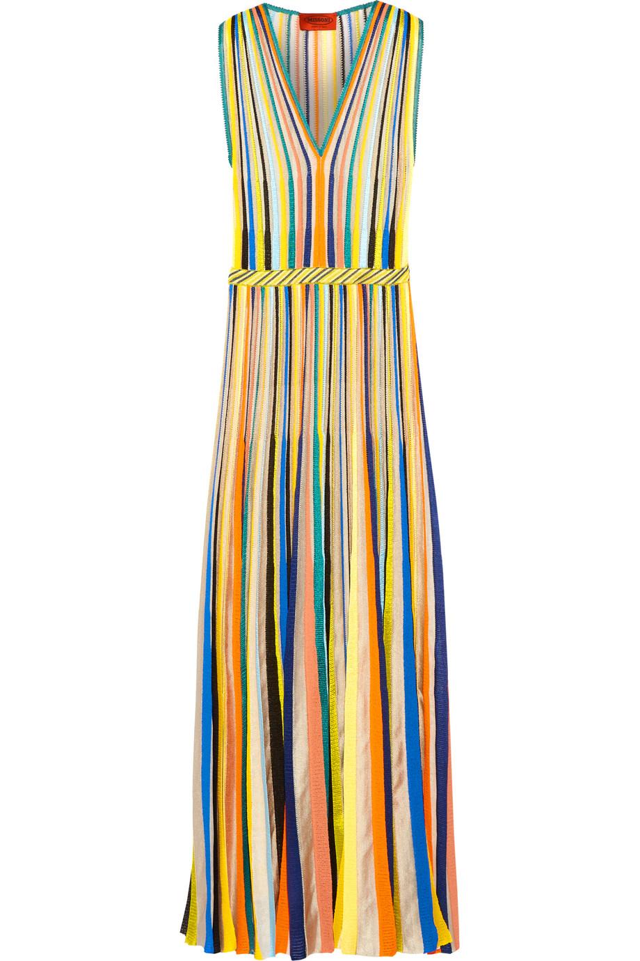 Missoni Striped Crochet-Knit Maxi Dress, Green/Yellow, Women's, Size: 42