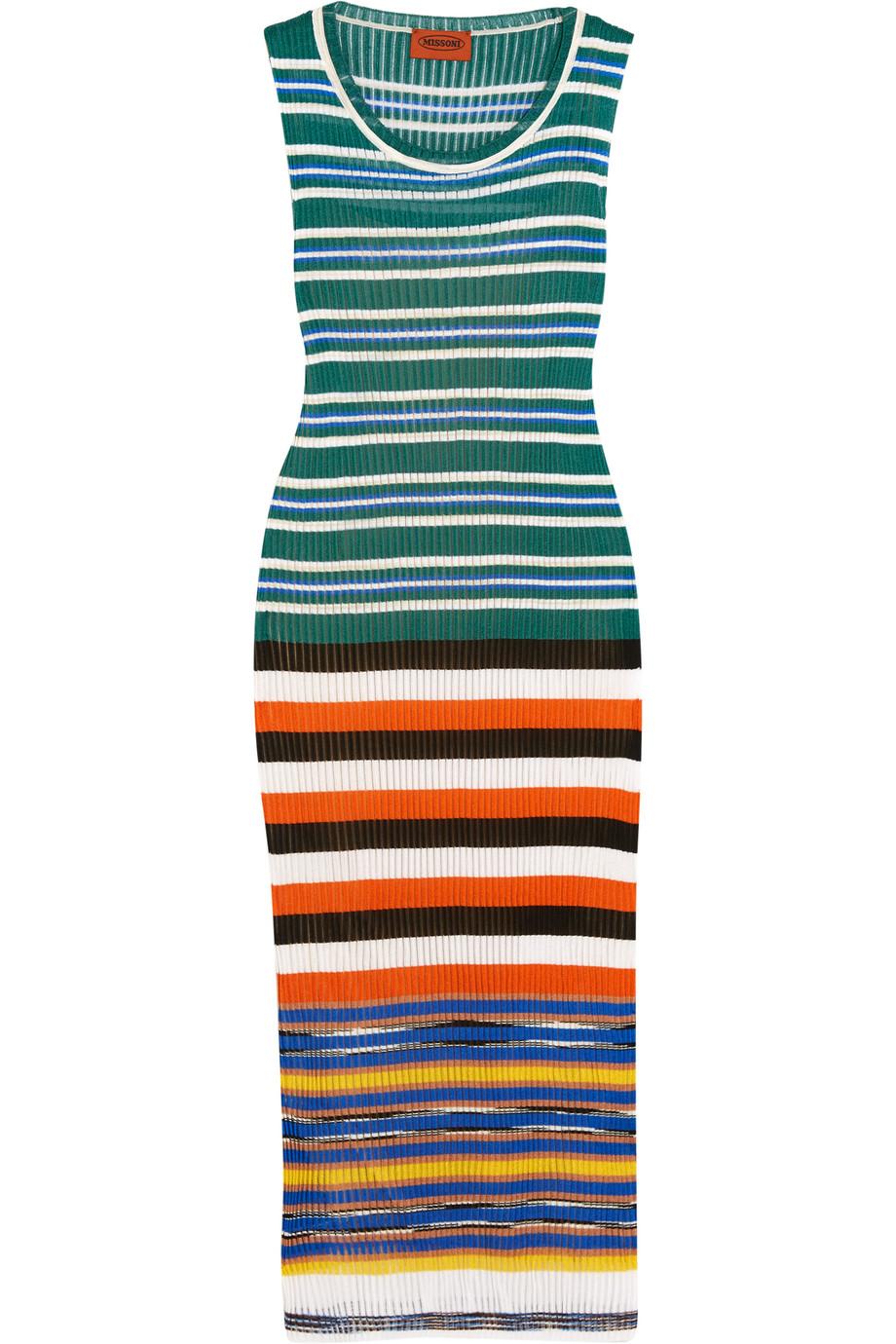 Missoni Striped Crochet-Knit Dress, Size: 44