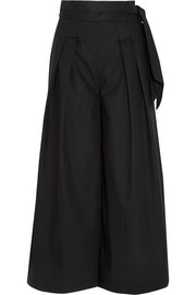 Electric belted cotton wide-leg pants