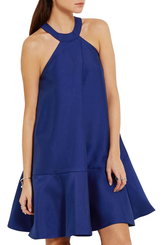 PAPER London Ruffled satin-twill halterneck dress