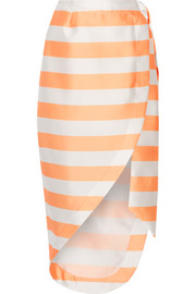 Bonpont wrap-effect striped gazar skirt