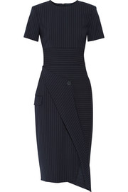 DKNY Pinstriped stretch wool-blend dress