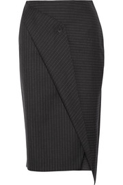 Wrap-effect pinstriped wool-twill skirt