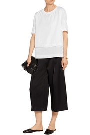DKNY Paneled silk-twill, cotton-voile and stretch cotton-poplin top