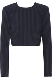 Cropped pinstriped stretch wool-blend top