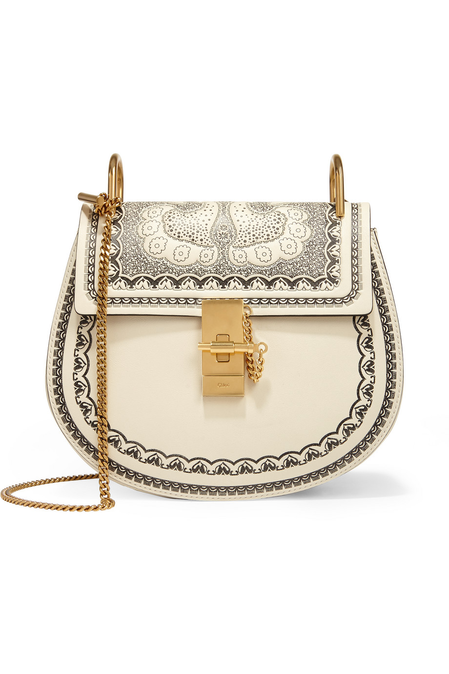 Chloé Drew Small Embossed Textured-Leather Shoulder Bag, Off-White, Women's, Size: One size