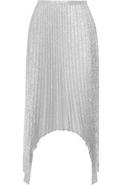 Pleated metallic silk-blend midi skirt
