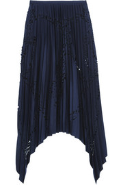 Pleated laser-cut matte-satin skirt