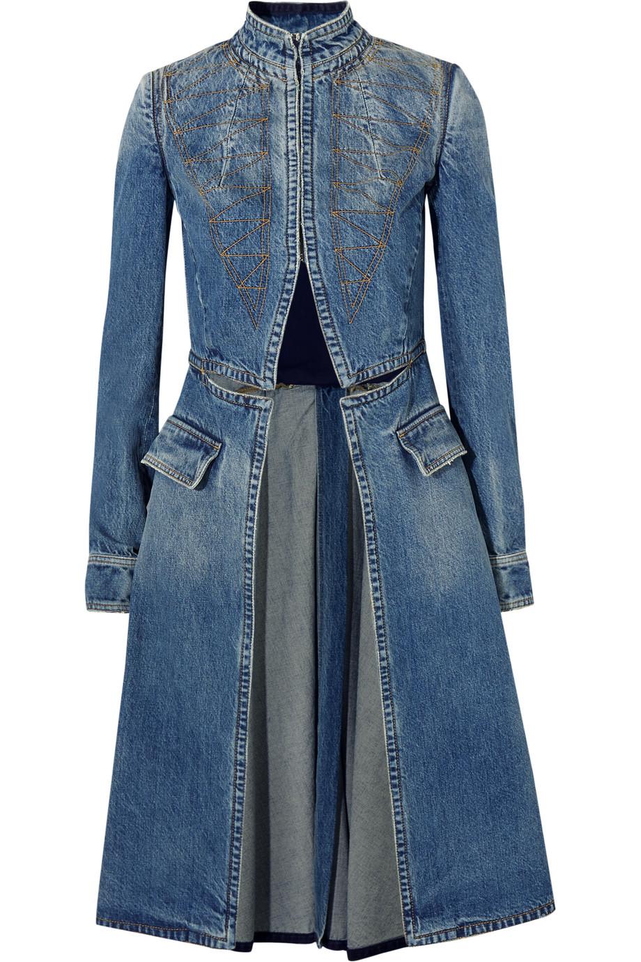 Alexander Mcqueen Embroidered Denim Coat, Size: 38