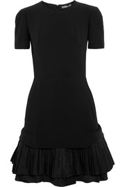 Pleated silk-trimmed crepe dress