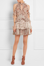 Alexander McQueen Ruffled printed silk-chiffon mini dress