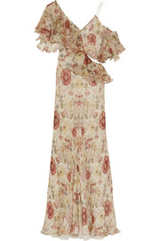 Ruffled floral-print silk-georgette gown