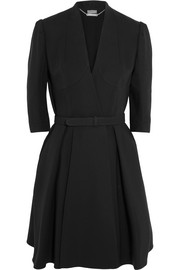 Alexander McQueen Belted wool and silk-blend dress