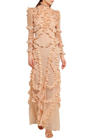 Alexander McQueen Ruffled pointelle-knit silk gown