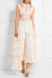 Alexander McQueen Cutout ruffled lace top