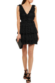 Alexander McQueen Ruffled pointelle-knit mini dress