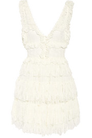 Alexander McQueen Tiered distressed lace mini dress