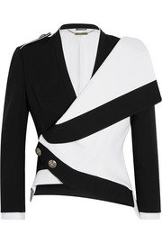 Asymmetric wool and silk-blend jacket