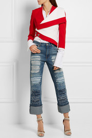 Alexander McQueen Distressed high-rise straight-leg jeans