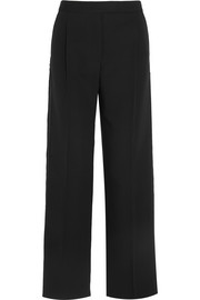 Wool and silk-blend gabardine wide-leg pants
